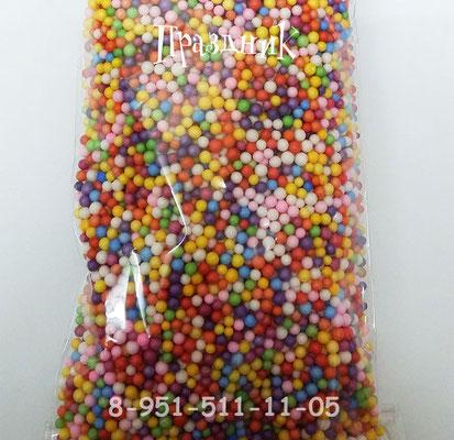 Конфетти шарики пенопластовые ассорти  мелкие для наполнения прозрачных шаров.