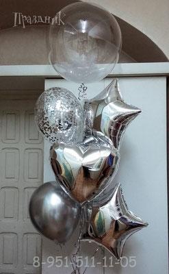 Полимерный шар 40 см с наполнением перьями на грузике 270 р. Звезды и сердца по 125 р. Шары с конфетти по 100 р. Шары Хром по 72 р.