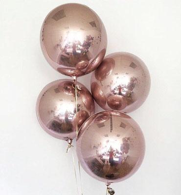 3D сфера розовое золото 40 см воздух 360 р., гелий 480 р.