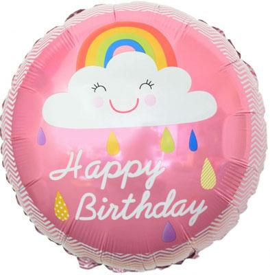 """Круг """"Облако и радуга. С днем рождения!"""" розовый воздух 80 р., гелий 130 р."""