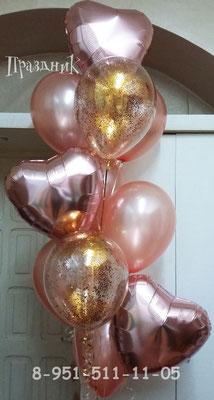 Сердца розовое золото по 125 р. Шары розовое золото 32 см по 65 р. с обработкой. Шары с мелким конфетти по 105 р.