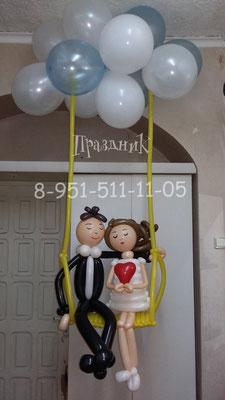 Жених и невеста на качели 750 р., облако из 12-ти гелиевых шаров с обработкой 564 р.