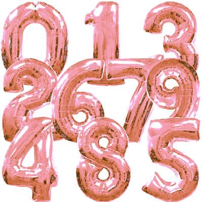 Цифры розовое золото 86 см. Grabo Италия. Воздух 330 р., гелий 540 р.
