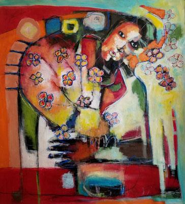 Mon amour -100 cm x 98 cm -Acrylique,Mixte - 2019