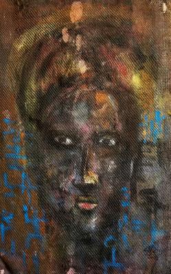 Portrait l'un d'eux -106 cm x 68 cm -Acrylique,Mixte sur sac de toile de jute -2019