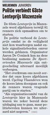 Politie verbiedt 63ste Lenteprijs Mazenzele - Het Nieuwsblad Pajottenland 11/3/2019 (Wim Redant)