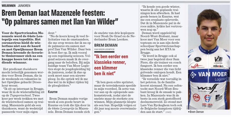 Brem Deman - Het Nieuwsblad Pajottenland 10/3/2020 (Wim Redant)