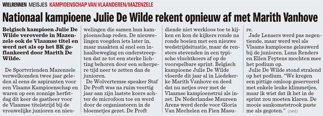 KVV Dames Jeugd - Het Nieuwsblad Pajottenland 1/10/2018 (Wim Redant)