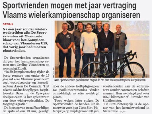 Sportvrienden mogen met jaar vertraging Vlaams wielerkampioenschap organiseren - Het Nieuwsblad Pajottenland 7/7/2021 (Erik Gyselinck)