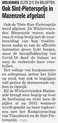 Ook Sint-Pietersprijs in Mazenzele afgelast - Het Nieuwsblad Pajottenland 23/7/2020 (Wim Redant)
