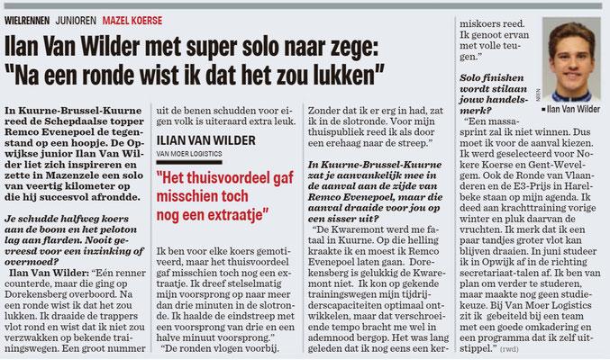 Interview Van Wilder 6/3/2018 - Nieuwsblad (Wim Redant)