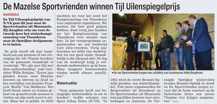 De Mazelse Sportvrienden winnen Tijl Uilenspiegelprijs - Het Nieuwsblad Noordrand 19/1/2019 (Erik Gyselinck)