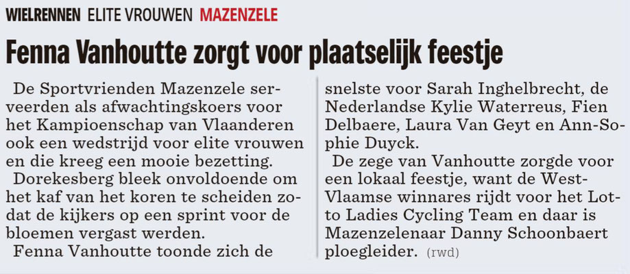 Elite Vrouwen - Het Nieuwsblad Pajottenland 1/10/2018 (Wim Redant)