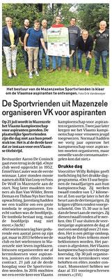 De Sportvrienden uit Mazenzele organiseren VK voor aspiranten - Het Laatste Nieuws Pajottenland 16/7/2021 (Erik Vandeweyer)
