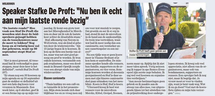 Afscheid speaker Staf De Proft - Het Nieuwsblad Pajottenland 9/6/2018 (Eric Biesemans)