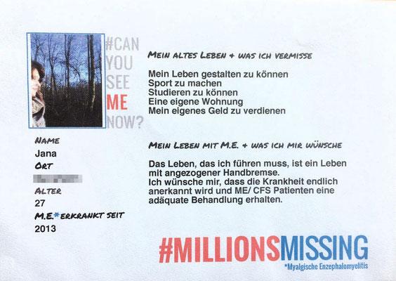 Persönliche Botschaft von Jana für den 12.05.2018 in Berlin: Ich bin eine von #MillionsMissing |Myalgische Enzephalomyelitis / Chronic Fatigue Syndrome