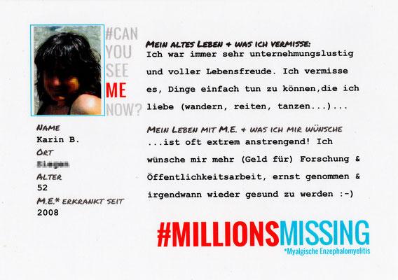 Persönliche Botschaft von Karin B. für den 12.05.2018 in Berlin: Ich bin eine von #MillionsMissing | Myalgische Enzephalomyelitis / Chronic Fatigue Syndrome