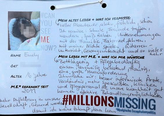 Persönliche Botschaft von Emily für den 12.05.2018 in Berlin: Ich bin eine von #MillionsMissing |Myalgische Enzephalomyelitis / Chronic Fatigue Syndrome