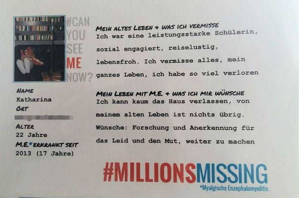 Persönliche Botschaft von Katharina für den 12.05.2018 in Berlin: Ich bin eine von #MillionsMissing | Myalgische Enzephalomyelitis / Chronic Fatigue Syndrome