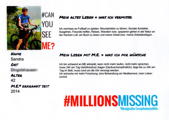 Persönliche Botschaft von Sandra für den 12.05.2018 in Berlin: Ich bin eine von #MillionsMissing |Myalgische Enzephalomyelitis / Chronic Fatigue Syndrome