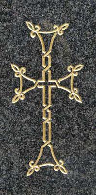 Croix orthodoxe gravée et dorée à la feuille d'or