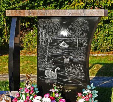 Paysage gravé à la pointe diamant sur stèle funéraire
