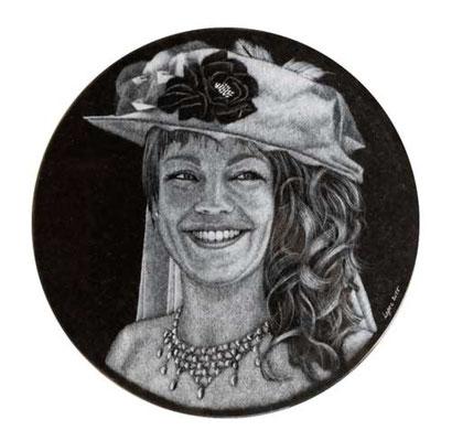 Portrait gravé à la pointe diamant
