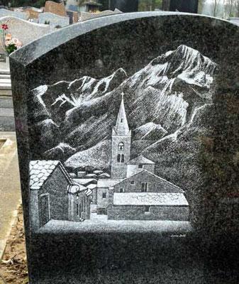 Village de montagne sur monument funéraire