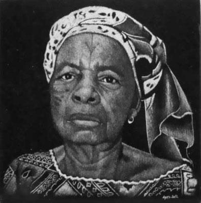 Gravure d'un portrait sur plaque funéraire
