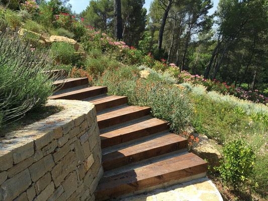 Escalier Traverse chemin de Fer Chêne