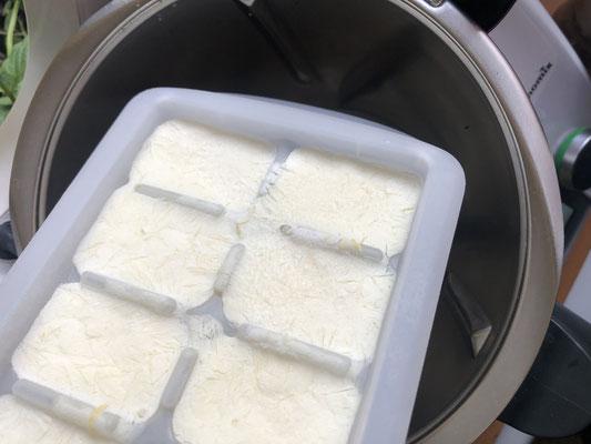 Gefrorene Eiswürfel in den Mixtopf geben