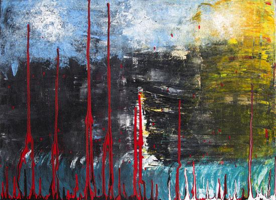 Oceans Bleed Into The Sky, 80x50 cm, Acryl auf Leinwand, 2014