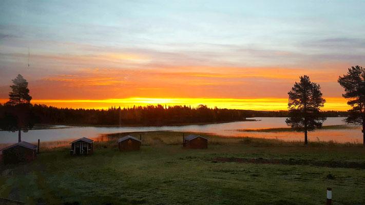 Sonnenaufgang über unserer Huskyfarm in schwedisch Lappland