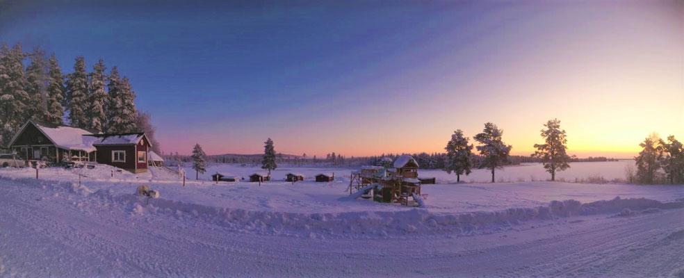 Blick über unsere Farm Lapplands Drag in Schweden