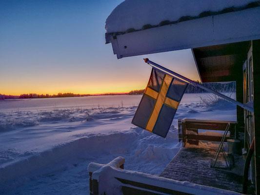 Winter Urlaub auf einer Huskyfarm in Lappland