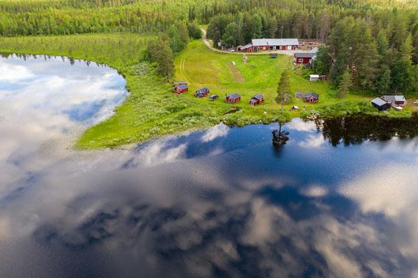 Die Lapplands Drag Huskyfarm von oben
