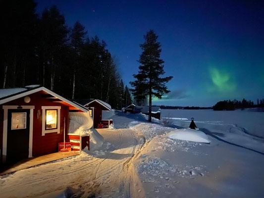 Polarlichter in Lappland, Lapplands Drag Huskyfarm