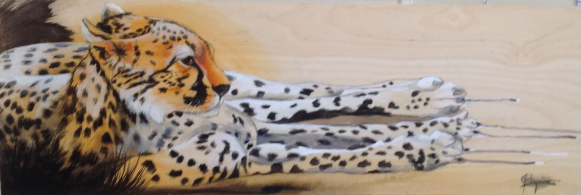 CHEETAH, oil on wood panel 12 x 36 (30cm x 91cm)