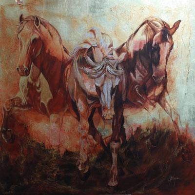 HORSE POWER, technique mixte 48x48 (122cm x 12cm) 2016