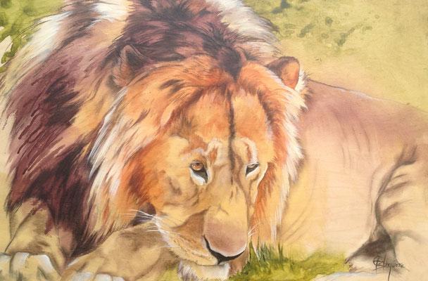 COEUR DE LION, acrylique et fusain 24 x 36 (61cm x 91cm) 2013
