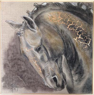 LÉZARD KING fusain acrylique sur lin 16x16  2015