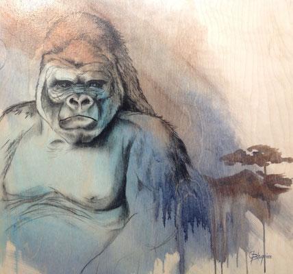 SOUVENIR D'AFRIQUE, charcoal and acrylic on wood panel 30 x 30 (76cm x 76cm)