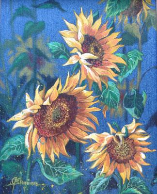 TOURNESOLS, acrylique sur toile de denin 16 x 20 (40cm x 51cm)