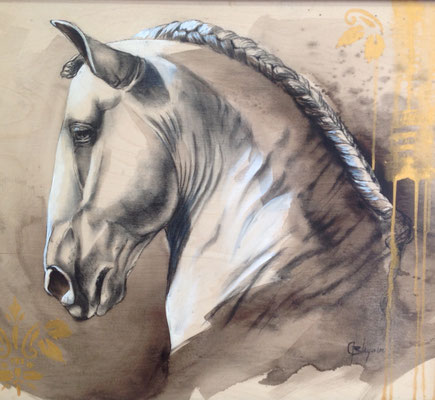 WAR HORSE, fusain acrylique 30x30