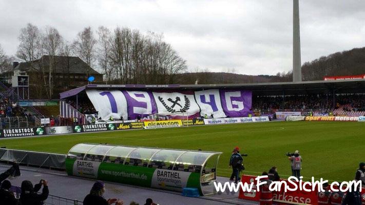 Choreo der Fans von Erzgebirge Aue. Foto: Nils Rauch (via Facebook).