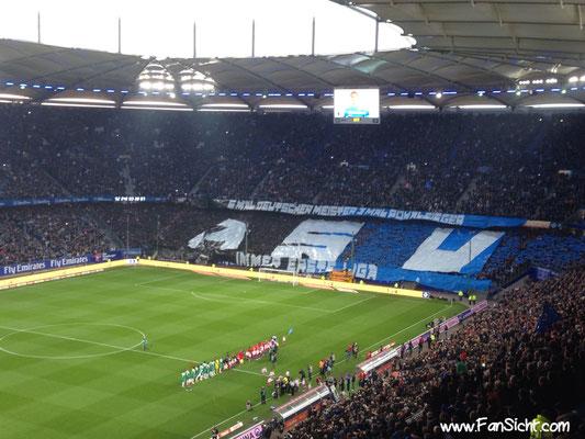 Choreo der Fans des Hamburger SV. Foto: Fabian Köster.