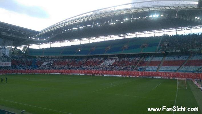 Choreographie der Fans von RB Leipzig. Foto: Lisa Heinrich (via Facebook).