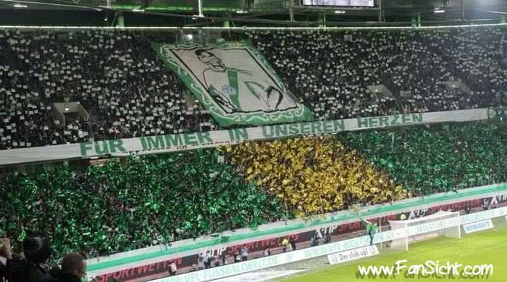 Choreographie der Wolfsburger Fans im eigenen Stadion. Foto: Dustin Voss (via Facebook).