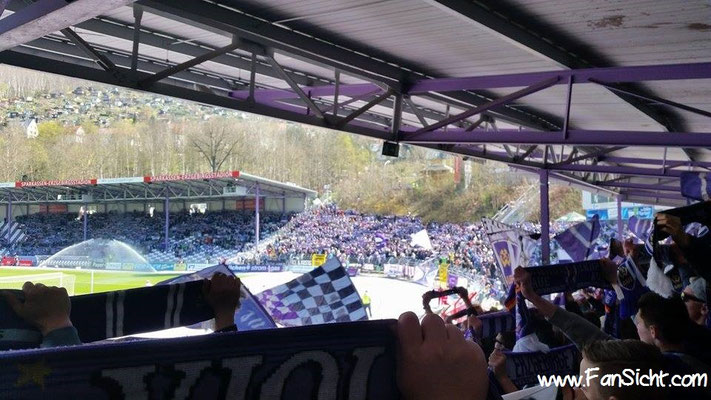 Choreo der Fans von Erzgebirge Aue. Foto: Marcel Dulhopp (via Facebook).