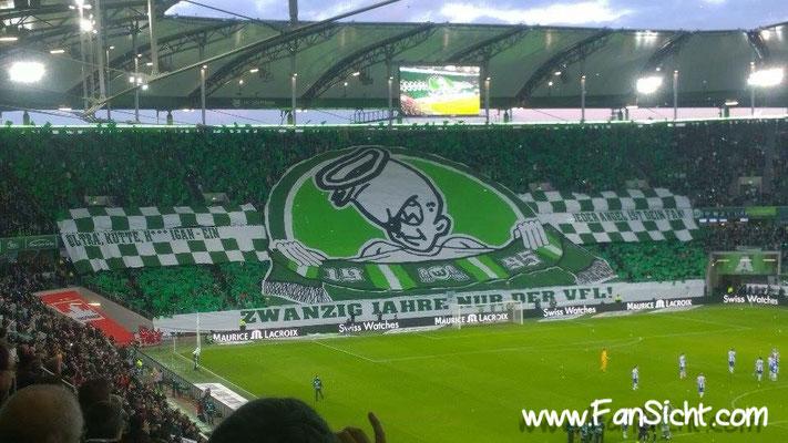 Choreographie der Fans vom VfL Wolfsburg . Foto: Dominik Frasunkiewicz (via Facebook).